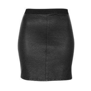 Topshop Moto Black Leather Skirt With Denim Back